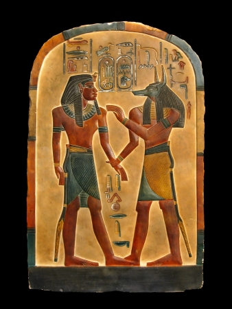 pharaoh: Pharaoh and god of embalming Anubis in Kingdom of the dead. Egyptian palette. Stock Photo