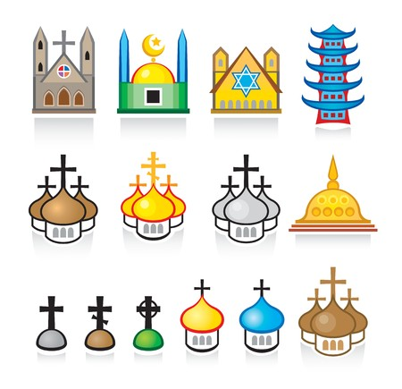 Religious Temples and Worship Places Illustration
