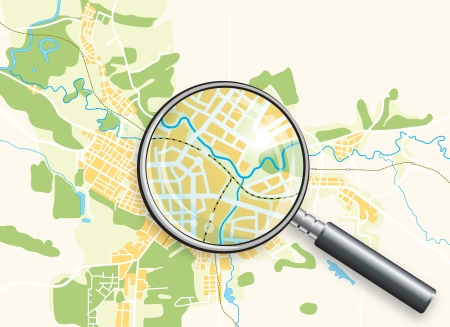 Map of the City and A Loupe. Color bright decorative background vector illustration.