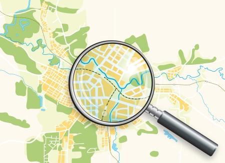 guia turistica: Mapa de la ciudad y una lupa. Ilustraci�n de vector de color brillante fondo decorativos.
