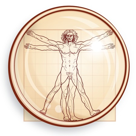 The Vitruvian man (under Microscope) 일러스트