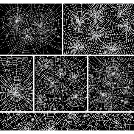 spider net: Web background pattern set 1. Eau-forte black-and-white decorative vector illustration.