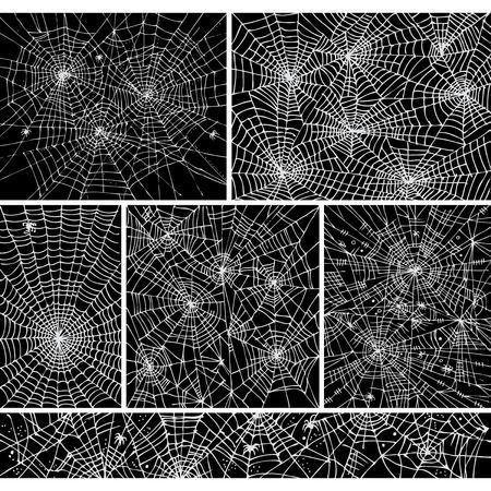 Web-Hintergrundmuster set 1. Eau-Forte schwarz-weiß dekorative Vektor-Illustration.