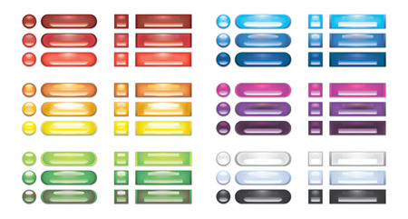 A collection of rainbow blank web buttons Vector