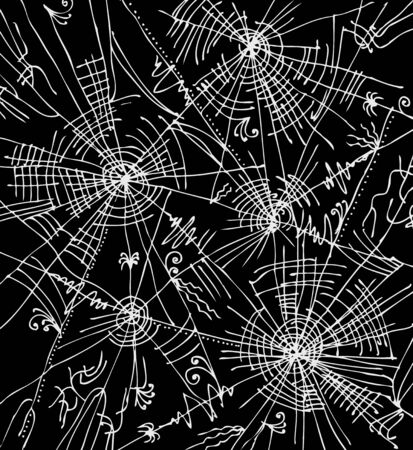spider net: Web background 312. Eau-forte black-and-white decorative vector illustration. Illustration