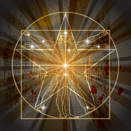 humanidad: El hombre de Vitruvio inscrita en el pentagrama m�stico medieval