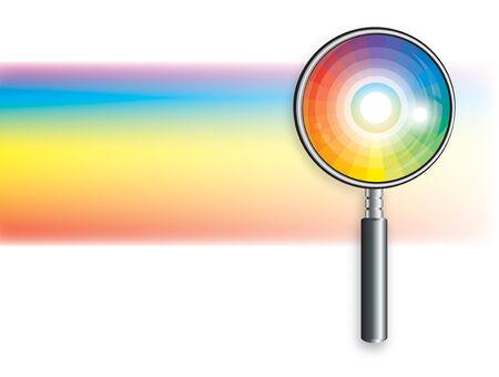 돋보기에서 무지개입니다. 색상 밝은 장식 배경 벡터 일러스트 레이 션.