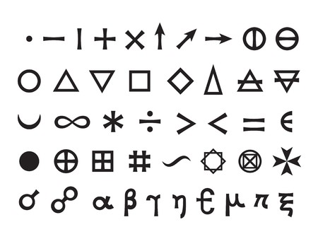 esoterics: Mystique Symbols set I. Basic Elements and Mathematical Signs