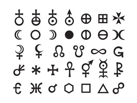 Mystiek symbolen instellen III. Maan fasen en aspecten