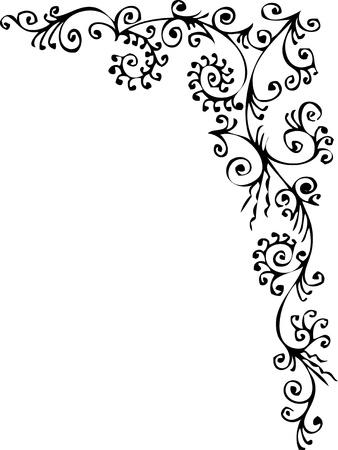 Barocke Frozen Vignette 334 Eau-Forte schwarz-weiß dekorativ hintergrund Muster Vector Illustration EPS-8