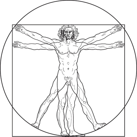 proportion: Homo vitruviano. So-called The Vitruvian man a.k.a. Leonardos man. Detailed drawing on the basis of artwork by Leonardo da Vinci, executed him c. 1490 (in 1487 or 1490 or 1492) by ancient manuscript of Roman master Marcus Vitruvius Pollio.