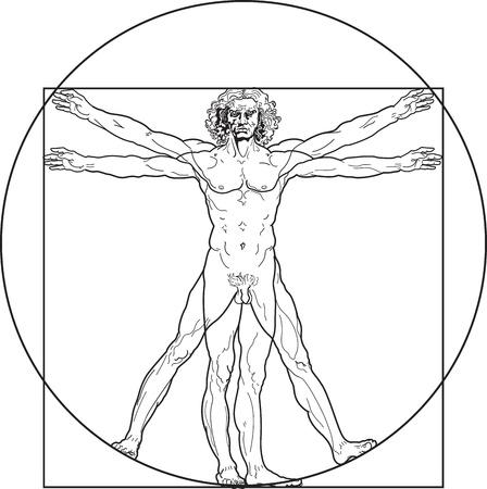 corpo: Homo vitruviano. So-called The Vitruvian man a.k.a. Leonardos man. Detailed drawing on the basis of artwork by Leonardo da Vinci, executed him c. 1490 (in 1487 or 1490 or 1492) by ancient manuscript of Roman master Marcus Vitruvius Pollio.