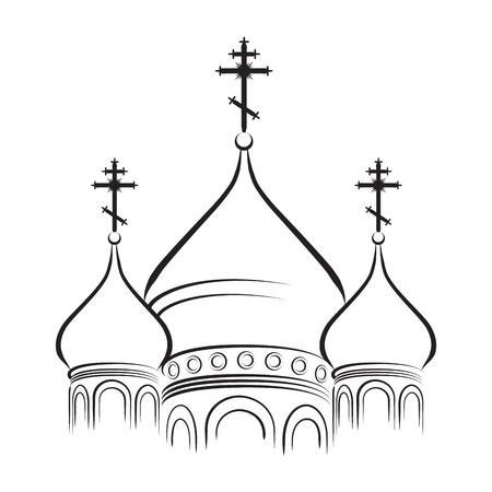 El Bulbous (en forma de cebolla) cúpulas de ortodoxa catedral templo. Contorno vectoriales EPS-8. Ilustración de vector