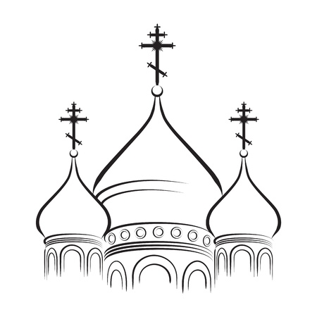 The Bulbous (onion-shaped) Domes of Orthodox Cathedral Temple. Outline vector EPS-8. Vector