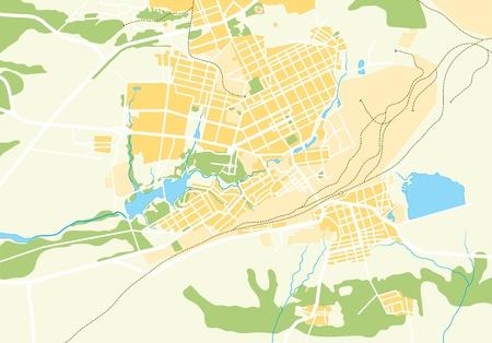 도시의 벡터 지리지도입니다. 색상 밝은 장식 배경 EPS-8 벡터 일러스트 레이 션.