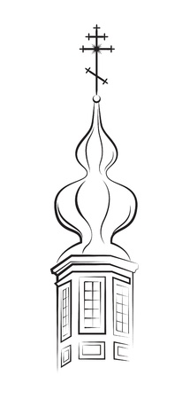 cupola: Pear-shaped Dome of Orthodox Church. Outline Vector EPS-8. Illustration