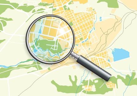 도시 지리적지도 및 줌 렌즈. 밝은 장식 배경 일러스트 레이 션 EPS10 색상.