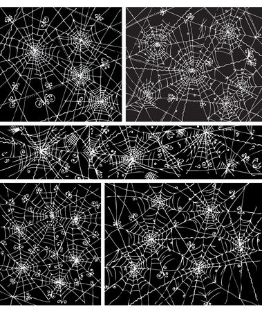 Web background pattern set 5. Eau-forte black-and-white decorative illustration. Vector