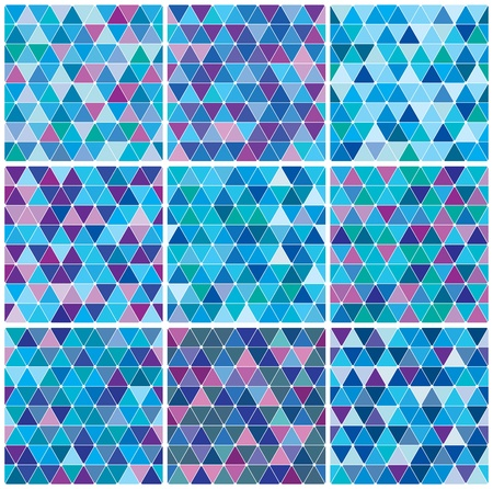 Bright blue winter triangle decorative background seamless pattern set Ilustração