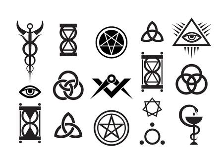 pentacle: Mystique simboli impostare VI. Francobolli di magia medievale Vettoriali