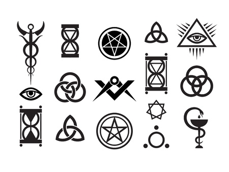 alquimia: S�mbolos de Mystique establecen VI. Sellos de magia medieval Vectores