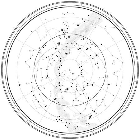 Astronomische himmlischen Karte der nördlichen Hemisphäre (Outline-Diagramm)