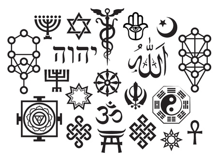 미스틱 심볼은 VI를 설정합니다. 동양의 사당 종교 상징 일러스트