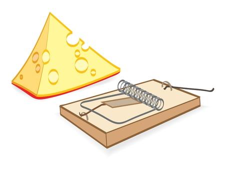 mousetrap: Un pezzo di formaggio e mouse trap. Illustrazione vettoriale EPS-8 Vettoriali