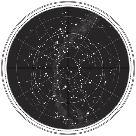 별자리: Celestial Map of The Night Sky. Astronomical Chart of Northern Hemisphere (EPS-8)
