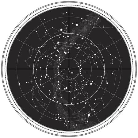 constelaciones: Mapa celeste del cielo nocturno. Gr�fico Astron�mica del hemisferio norte (EPS-8) Vectores
