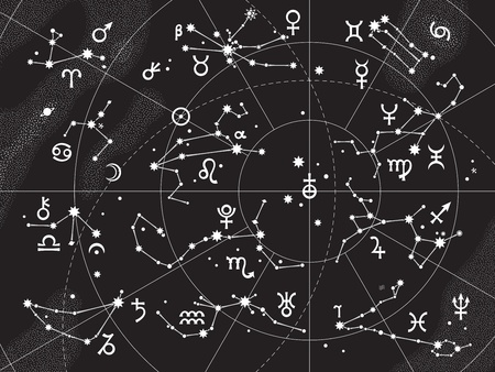 별자리: XII Constellations of Zodiac and Its Planets the Sovereigns. Astrological Celestial Chart. 일러스트