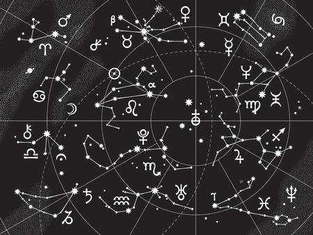 costellazioni: XII costellazioni dello zodiaco e i suoi pianeti i Supremi. Carta celeste astrologica.