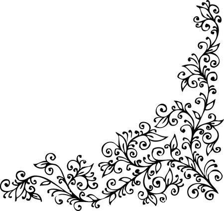 Floral vignette 424 Eau-forte decorative background texture vector illustration