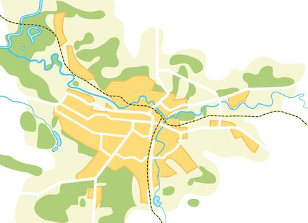 simplified: Simplified Map of The City. Decorative background  Illustration