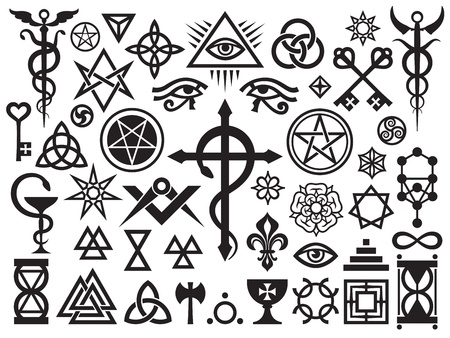 Medieval Occult Signs And Magic Stamps, Locks, Knots (with Additions)  イラスト・ベクター素材