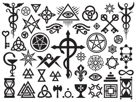 Mittelalterliche okkulten Zeichen und Magic Briefmarken, sperren, Knoten (mit Ergänzungen) Illustration