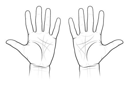 Chiromantie Grafiek van de Palms: lijnen en wegen, EPS-8 Vector Illustratie