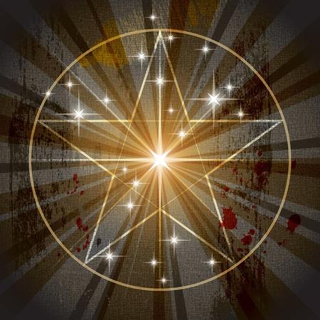 alquimia: El antiguo pentagrama místico medieval (pentáculo). Pergamino de fondo ilustración vectorial