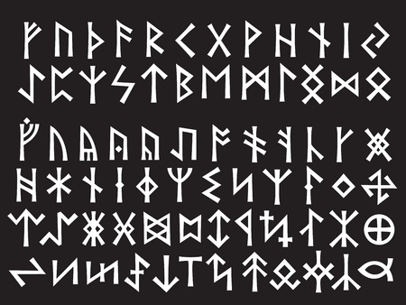 runes: Silver Runic Script  Elder Futhark and Other Runes used all over Northern Europe till the XIII century  Illustration