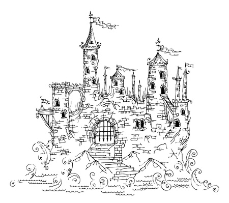 history architecture: Gothic Castle from Fairytale IV  illustration EPS-8