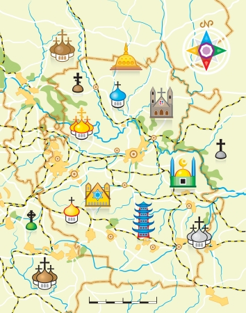 Geodesic Map of The Country with Landmarks - Background  illustration with religious worship buildings pictograms Vector