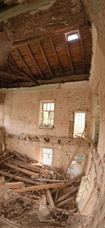 industrial ruins: Panorama of the destroyed building inside Stock Photo