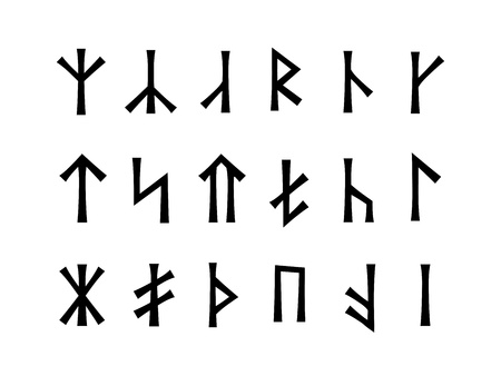 runes: Slavonic Runes of Venethi - Pre-Christian Slavic script - hypothetical writing used before the IX century in Eastern Europe Illustration