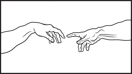 famous painting:  Creatio Adami - The Creation of Adam, fragment - A section of Michelangelo fresco, Sistine Chapel ceiling painted, c 1511 - Detailed vector outline drawing Illustration
