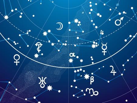 천국: 행성 밤 별 하늘의 천문 하늘지도 책의 조각 - 청사진 버전