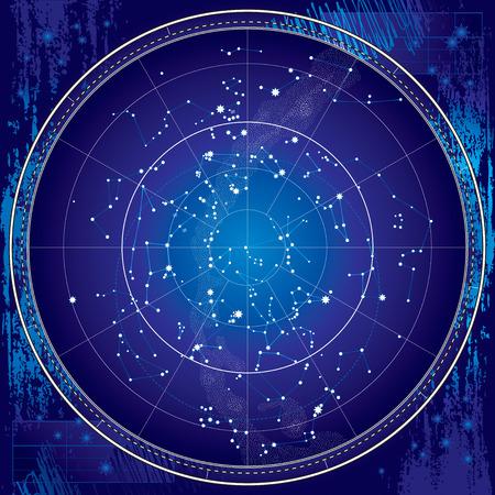 Celestial Karte von The Night Sky - Astronomische Diagramm der nördlichen Hemisphäre - Dark Blueprint Version EPS-8 Illustration