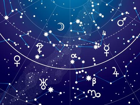 행성 밤 별 하늘의 천문 하늘지도 책의 조각