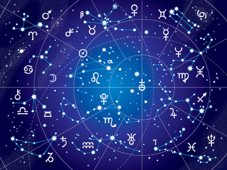 XII Constellations of Zodiac and Its Planets the Sovereigns. Astrological Celestial Chart. (Ultraviolet Blueprint version). Vector