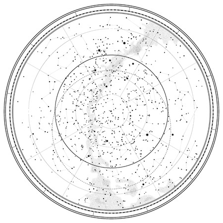 Astronomical Celestial Map of Northern Hemisphere (detailed outline Chart EPS-10) Vector