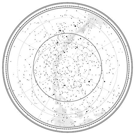 sonne mond und sterne: Astronomische Celestial Karte des nördlichen Hemisphäre (detaillierte Gliederung Tabelle EPS-10)
